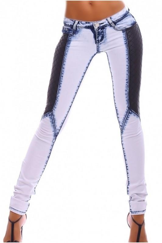 Šviesūs džinsai su odos imitacija šonuose