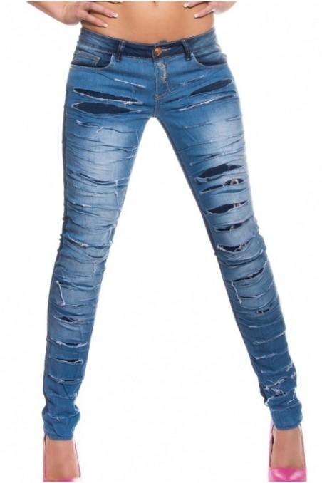 Mėlyni plėšyti džinsai