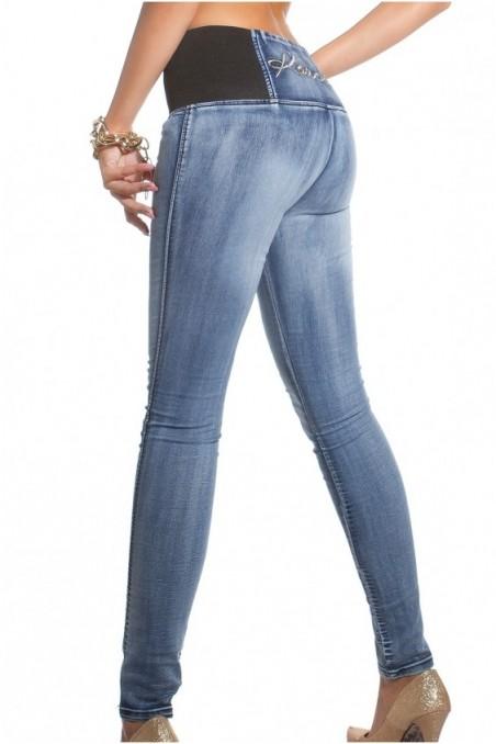 Mėlyni džinsai su paaukštintu liemeniu