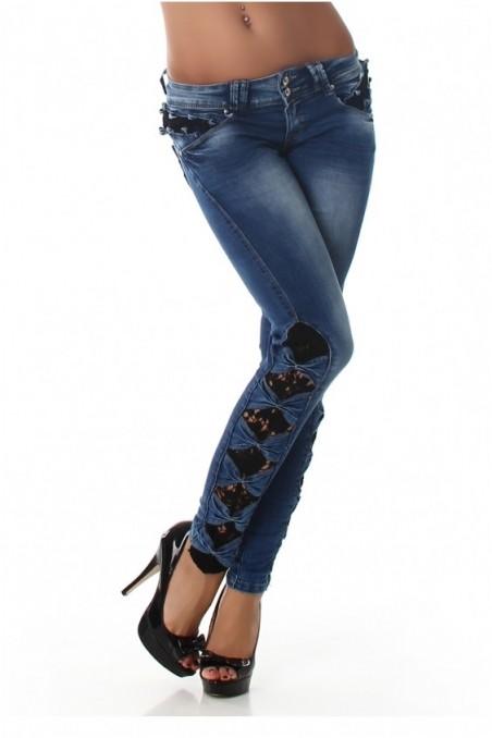 Mėlyni džinsai su kaspinukais šonuose
