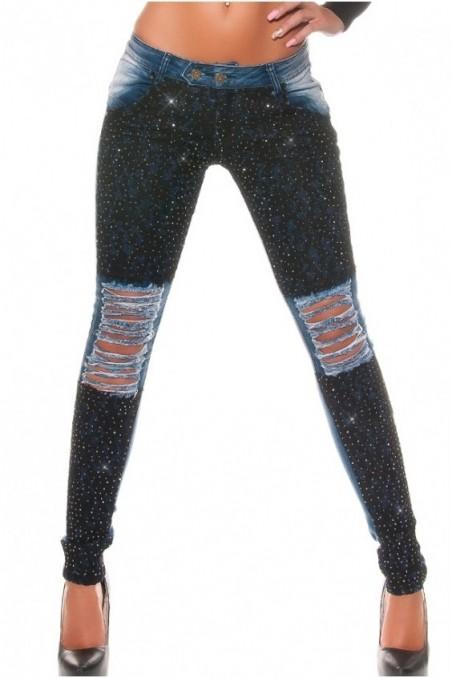 Mėlyni su juoda džinsai